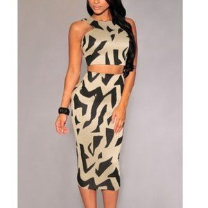 Print Patterned Top and Skirt Set